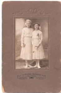 First Communion Portrait of Betty (left) and unidentified girl.  About 1910.